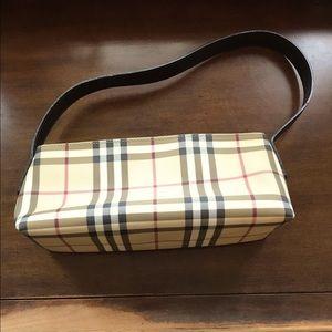 Burberry Triangle ClassicCheckLeather Shoulder Bag